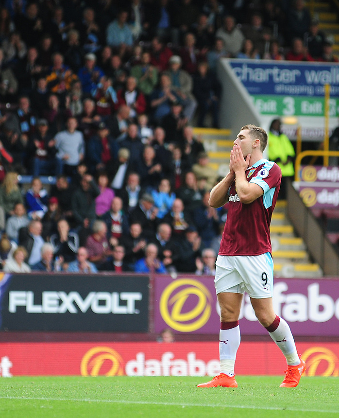 Burnley's Sam Vokes reacts after missing a chance in the second half<br /> <br /> Photographer Chris Vaughan/CameraSport<br /> <br /> Football - The Premier League - Burnley v Swansea City - Saturday 13th August 2016 - Turf Moor - Burnley<br /> <br /> World Copyright &copy; 2016 CameraSport. All rights reserved. 43 Linden Ave. Countesthorpe. Leicester. England. LE8 5PG - Tel: +44 (0) 116 277 4147 - admin@camerasport.com - www.camerasport.com