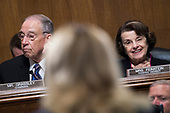 UNITED STATES - SEPTEMBER 27: Chairman Charles Grassley, R-Iowa, and ranking member Sen. Dianne Feinstein, D-Calif., listen to Dr. Christine Blasey Ford testify during the Senate Judiciary Committee hearing on the nomination of Brett M. Kavanaugh to be an associate justice of the Supreme Court of the United States, focusing on allegations of sexual assault by Kavanaugh against Christine Blasey Ford in the early 1980s. (Photo By Tom Williams/CQ Roll Call/POOL)