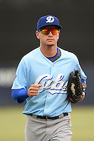 Daytona Cubs outfielder Albert Almora (6) jogs in from the field during a game against the Tampa Yankees  on April 13, 2014 at George M. Steinbrenner Field in Tampa, Florida.  Tampa defeated Daytona 7-3.  (Mike Janes/Four Seam Images)