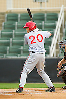 Brandon Miller (20) of the Hagerstown Suns at bat against the Kannapolis Intimidators at CMC-Northeast Stadium on May 16, 2013 in Kannapolis, North Carolina.  The Suns defeated the Intimidators 10-7.   (Brian Westerholt/Four Seam Images)