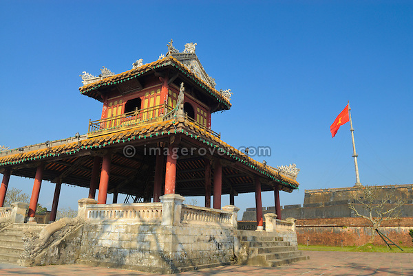 Asia, Vietnam, Hue. Flag tower of the citadel. Designated a UNESCO World Heritage Site in 1993, Hue is honoured for its complex of historic monuments. The seat of the Nguyen emperors was in the Citadel, which occupies a large, walled area on the north side of the Perfume river. Inside the citadel was a forbidden city where only the concubines, emperors, and those close enough to them were granted access, the punishment for trespassing being death.