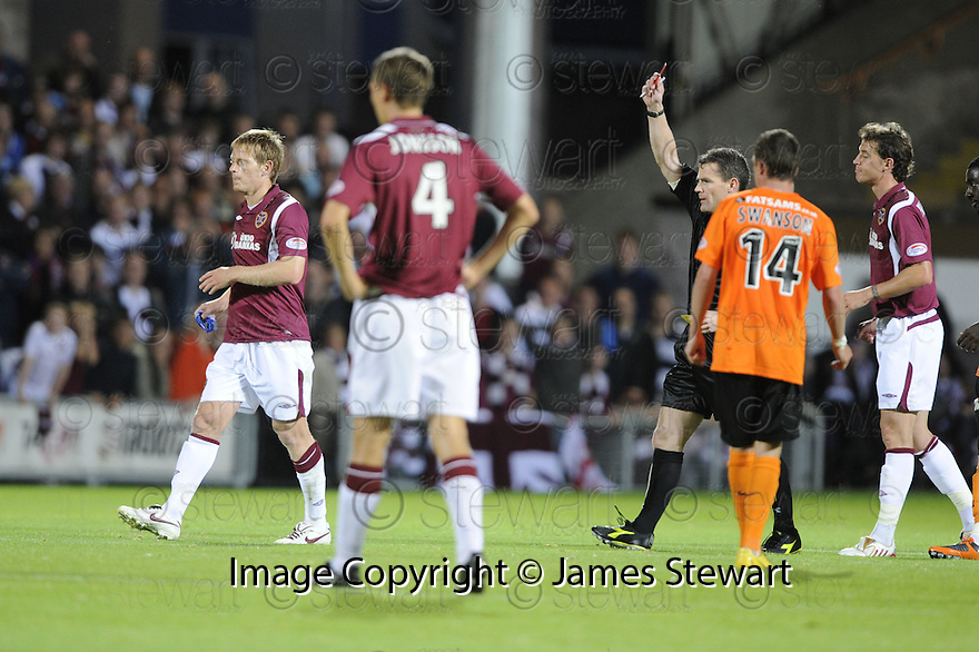 17/08/2009  Copyright  Pic : James Stewart.sct_jspa14_dundee_utd_v_hearts  .MICHAEL STEWART IS SENT OFF.....James Stewart Photography 19 Carronlea Drive, Falkirk. FK2 8DN      Vat Reg No. 607 6932 25.Telephone      : +44 (0)1324 570291 .Mobile              : +44 (0)7721 416997.E-mail  :  jim@jspa.co.uk.If you require further information then contact Jim Stewart on any of the numbers above.........