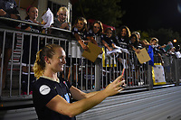 Boyds, MD - Wednesday August 30, 2017: Samantha Mewis, fans during a regular season National Women's Soccer League (NWSL) match between the Washington Spirit and the North Carolina Courage at Maureen Hendricks Field, Maryland SoccerPlex.