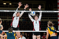 STANFORD, CA - September 2, 2010: Charlotte Brown (11) and Cassidy Lichtman (8) during a volleyball match against UC Irvine in Stanford, California. Stanford won 3-0.