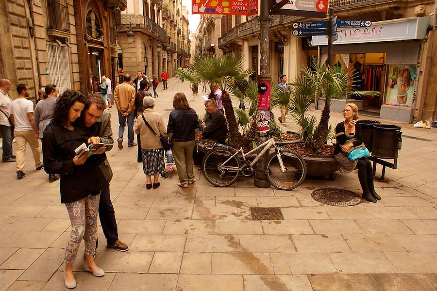 Barcelona, Spain, Historic Plaza, Tourists