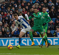 Brighton & Hove Albion's Solly March (left) battles with Watford's Etienne Capoue (right) <br /> <br /> Photographer David Horton/CameraSport<br /> <br /> The Premier League - Brighton and Hove Albion v Watford - Saturday 2nd February 2019 - The Amex Stadium - Brighton<br /> <br /> World Copyright © 2019 CameraSport. All rights reserved. 43 Linden Ave. Countesthorpe. Leicester. England. LE8 5PG - Tel: +44 (0) 116 277 4147 - admin@camerasport.com - www.camerasport.com