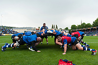 The Bath Rugby forwards practise their scrummaging during the pre-match warm-up. Aviva Premiership match, between Bath Rugby and Saracens on September 9, 2017 at the Recreation Ground in Bath, England. Photo by: Patrick Khachfe / Onside Images