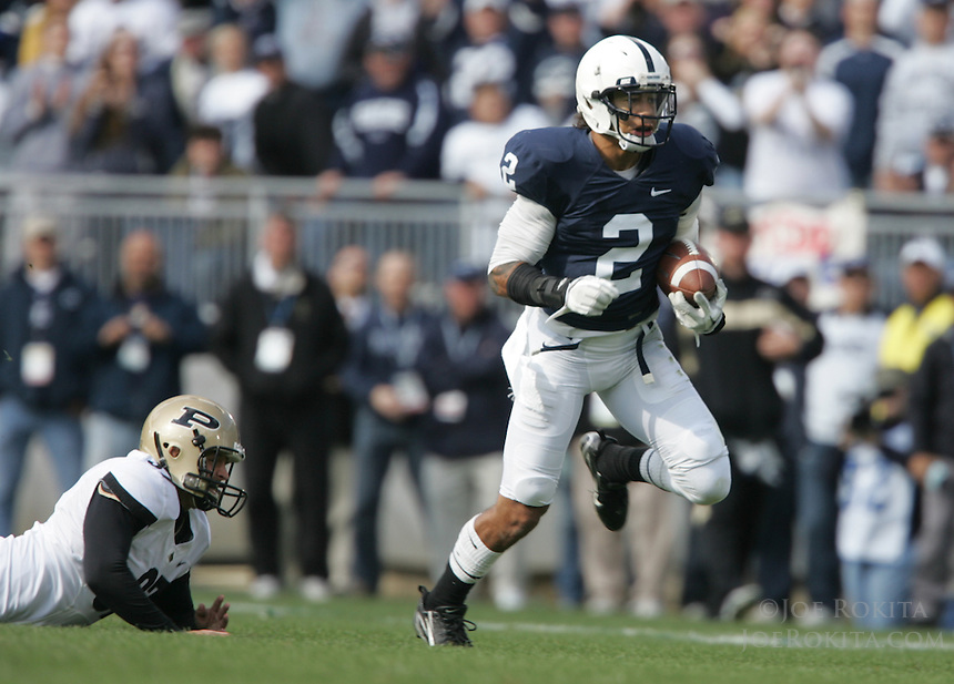 State College, PA - 10/15/2011:  Chaz Powell (2) avoids the tackle attempts by the Purdue defenders while en route to a 92-yard kickoff return during the second half.  Penn State defeated Purdue by a score of 23-18 on October 15, 2011, homecoming, at Beaver Stadium...Photo:  Joe Rokita / JoeRokita.com..Photo ©2011 Joe Rokita Photography