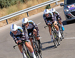 Hitec Products-Birk Sport team in action during Stage 1 of the Madrid Challenge by La Vuelta, a team time trial running 12.6km from Boadilla del Monte to Boadilla del Monte, Spain. 15th September 2018.                   <br /> Picture: Unipublic/Vicent Bosch | Cyclefile<br /> <br /> <br /> All photos usage must carry mandatory copyright credit (&copy; Cyclefile | Unipublic/Vicent Bosch)