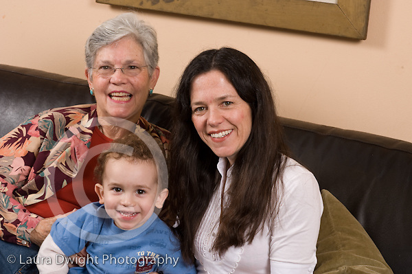 2 year old toddler boy at home portrait with mother and grandmother horizontal Caucasian