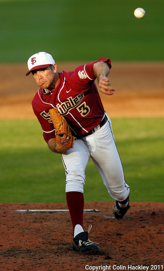 TALLAHASSEE, FL 2/18/11-FSU-VMI BASE11 CH-Florida State pitcher Sean Gilmartin kept Virginia Military Institute scoreless for the seven innings he pitched Friday at Dick Howser Stadium in Tallahassee. The Seminoles beat the Keydets 12-0 in the season opener for both teams..COLIN HACKLEY PHOTO