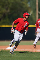 Los Angeles Angels Natanael Delgado (17) during an instructional league game against the Arizona Diamondbacks on October 9, 2015 at the Tempe Diablo Stadium Complex in Tempe, Arizona.  (Mike Janes/Four Seam Images)