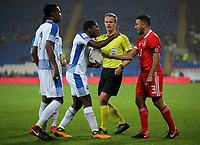 Referee Bart Vertenten interferes whenAmir Murillo of Panama (2nd L) argues with Neil Taylor of Wales (R)  during the international friendly soccer match between Wales and Panama at Cardiff City Stadium, Cardiff, Wales, UK. Tuesday 14 November 2017.