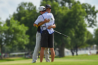 Kevin Na (USA) sinks his birdie putt on 18 and wins the 2019 Charles Schwab Challenge, Colonial Country Club, Ft. Worth, Texas,  USA. 5/26/2019.<br /> Picture: Golffile | Ken Murray<br /> <br /> All photo usage must carry mandatory copyright credit (© Golffile | Ken Murray)