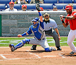 22 June 2008: Texas Rangers' catcher Jarrod Saltalamacchia in action against the Washington Nationals at Nationals Park in Washington, DC. The Rangers defeated the Nationals 5-3 in the final game of their 3-game inter-league series...Mandatory Photo Credit: Ed Wolfstein Photo