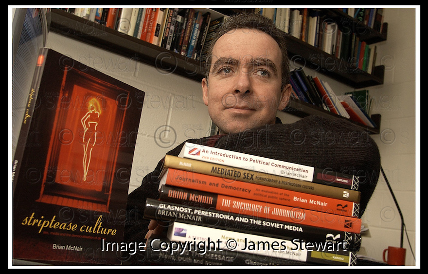 """15/4/02                 Copyright Pic : James Stewart .Ref :     .File Name : stewart-brian mcnair 10.BRIAN MCNAIR, LECTURER IN FILM AND MEDIA STUDIES AT STIRLING UNIVERSITY, WITH HIS NEW BOOK """"STRIPTEASE CULTURE"""".(see copy from Tim Bugler).........James Stewart Photo Agency, 19 Carronlea Drive, Falkirk. FK2 8DN      Vat Reg No. 607 6932 25.Office     : +44 (0)1324 570906     .Mobile  : +44 (0)7721 416997.Fax         :  +44 (0)1324 570906.E-mail  :  jim@jspa.co.uk.If you require further information then contact Jim Stewart on any of the numbers above........."""