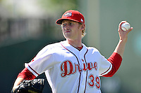 Pitcher Logan Boyd (39) of the Greenville Drive warms up before a game against the Columbia Fireflies on Sunday, April 24, 2016, at Fluor Field at the West End in Greenville, South Carolina. Greenville won, 5-1. (Tom Priddy/Four Seam Images)
