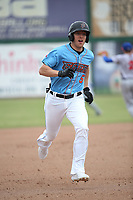 Jordan Zimmerman (5) of the Inland Empire 66ers runs the bases during a game against the Stockton Ports at San Manuel Stadium on May 26, 2019 in San Bernardino, California. (Larry Goren/Four Seam Images)