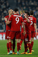 Calcio, andata degli ottavi di finale di Champions League: Juventus vs Bayern Monaco. Torino, Juventus Stadium, 23 febbraio 2016. <br /> Bayern&rsquo;s Arjen Robben, left, celebrates with teammates after scoring during the Champions League first leg round of 16 football match between Juventus and Bayern at Turin's Juventus Stadium, 23 February 2016.<br /> UPDATE IMAGES PRESS/Isabella Bonotto