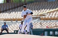 Glendale Desert Dogs relief pitcher Jordan Foley (36), of the New York Yankees organization, delivers a pitch during an Arizona Fall League game against the Mesa Solar Sox at Camelback Ranch on October 15, 2018 in Glendale, Arizona. Mesa defeated Glendale 8-0. (Zachary Lucy/Four Seam Images)