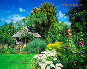 Tom Mackie, FLOWERS, photos, Flower Borders & Thatch Summerhouse, Otley Hall, Suffolk, England, GBTM200551-2,#F# Garten, jardín