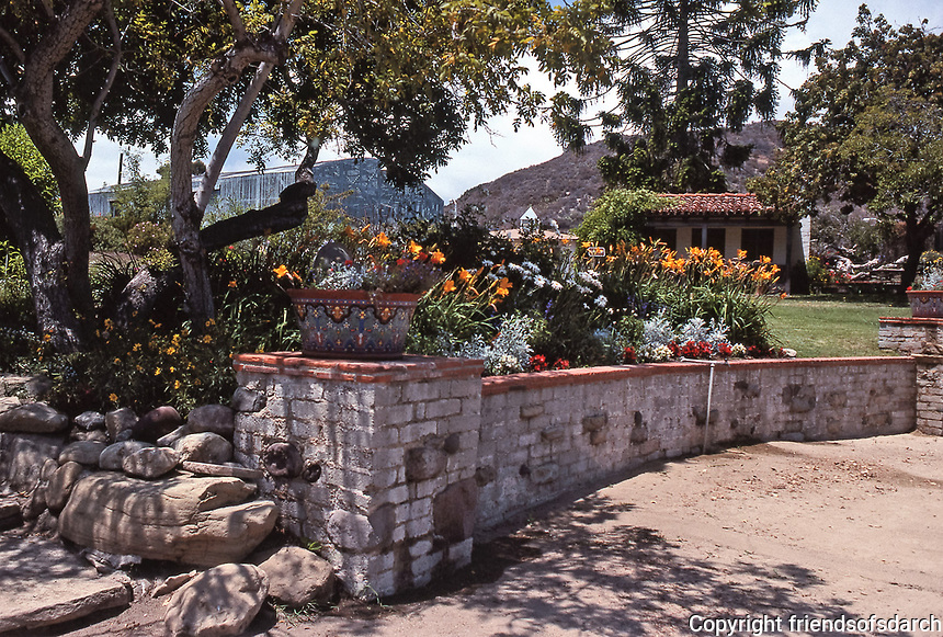 The Adamson House, designed by a well-known architect, Stiles Clements, was constructed beginning in 1929. Built for Rhoda Rindge Adamson and her husband, Merritt Huntley Adamson. Situated near the Malibu Pier between popular Surfrider Beach and the Malibu Lagoon. Beautiful Spanish walkways and lush landscaping.It is now the Malibu Lagoon Museum. Photo--July 1989.