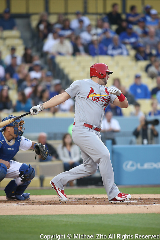 05/13/16 Los Angeles, CA: St. Louis Cardinals first baseman Matt Adams #32 during an MLB game between the Los Angeles Dodgers and the St Louis Cardinals played at Dodger Stadium