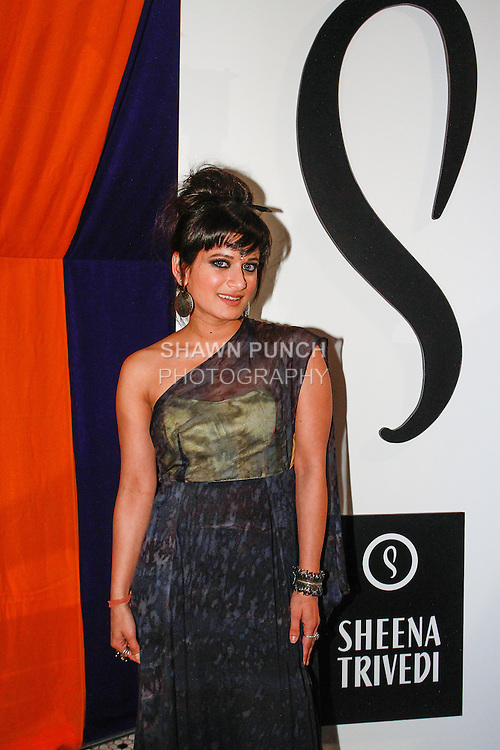Fashion designer Sheena Trivedi posing moments before her Sheena Trivedi Spring Summer 2014 collection fashion show, at Hotel Chantelle on October 21, 2013.