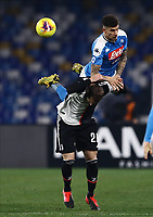 26th January 2020; Stadio San Paolo, Naples, Campania, Italy; Serie A Football, Napoli versus Juventus; Giovanni Di Lorenzo of Napoli goes over the back of Gonzalo Higuain of Juventus to win the header