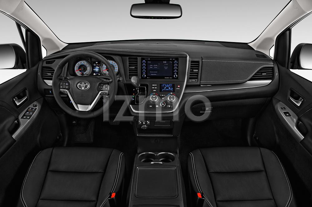 Stock photo of straight dashboard view of a 2020 Toyota Sienna SE 5 Door Mini Van