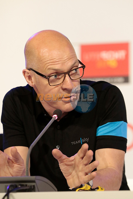 Sir Dave Brailsford Team Sky press conference before the start of the 2015 Tour de France in Utrecht, Netherlands. 3rd July 2015.<br /> Photo: Eoin Clarke www.newsfile.ie