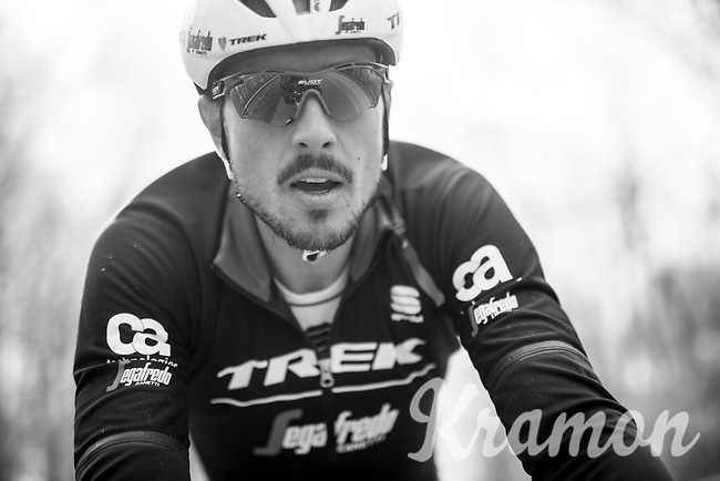 John Degenkolb (DEU/Trek-Segafredo) up close during training.<br /> <br /> Team Trek-Segafredo during their 2017 Paris-Roubaix recon, 3 days prior to the event.