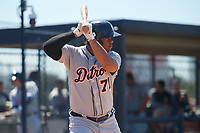 Detroit Tigers Cesar Gonzalez (71) during a Minor League Spring Training game against the New York Yankees on March 21, 2018 at the New York Yankees Minor League Complex in Tampa, Florida.  (Mike Janes/Four Seam Images)