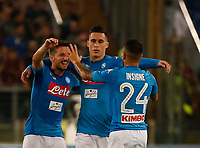 Lorenzo Insigne celebrates after scoring with Jose Callejon and Dries Mertens  during the  italian serie a soccer match, AS Roma -  SSC Napoli       at  the Stadio Olimpico in Rome  Italy , 14 ottobre 2017