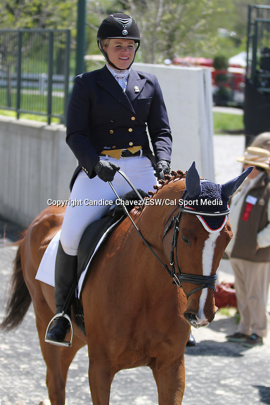 April 23, 2015:  #23 Consensus and Julie Norman competing on the first day of Dressage at the Rolex Three Day Event at the Kentucky Horse Park in Lexington, KY.  Candice Chavez/ESW/CSM