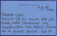 BNPS.co.uk (01202 558833)<br /> Pic: Cheffins/BNPS<br /> <br /> A letter from Diana to Cyril dated July 18th, 1993 thanking him for his letter after the passing of her grandmother sold for &pound;2,795.<br /> <br /> Heartwarming unseen letters from Princess Diana in which she speaks of Prince William's love for his younger brother and Prince Harry's rebellious side have sold at auction for a total of &pound;19,185.<br /> <br /> In the letters to the late Cyril Dickman, who served as a steward at Buckingham Palace for more than 50 years, she spoke of how William 'could not stop kissing' Harry after he was born in September 1984.<br /> <br /> One particularly touching letter to Mr Dickman, dated March 2, 1985, reads: &quot;William adores his little brother and spends the entire time swamping Harry with an endless supply of hugs and kisses, hardly letting the parents near!&quot; <br /> <br /> The letters were sold individually at Cheffins auctioneers today.