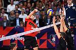 14.09.2019, Paleis 12, BrŸssel / Bruessel<br />Volleyball, Europameisterschaft, Deutschland (GER) vs. Belgien (BEL)<br /><br />Angriff Ruben Schott (#3 GER)<br /><br />  Foto © nordphoto / Kurth