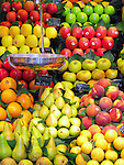 Fruit at produce stand at La Boqeria (public market) in Barcelona, Spain.