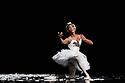 London, UK. 12.09.2018. Les Ballets Trockadero de Monte Carlo (The Trocks) return to the UK and receives their Ireland premiere during an eight-week, twelve venue tour, that opens at the Peacock , London, on 12th September, and concludes at the Grand Opera House, Belfast, on 3rd November. the dancers are: Joshua Thake (Eugenia Repelski), Jack Furlong Jr (Guzella Verbitskaya), Alberto Pretto (Nina Immobilashvili), Roberto Vega (Mikhail Mypansarov), Kevin Garcia (Sergey Legupski), Duane Gosa (Helen Highwaters). Picture shows: Duane Gosa (Helen Highwaters) performing the Dying Swan. Photograph © Jane Hobson.