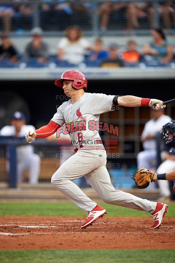 Palm Beach Cardinals right fielder Thomas Spitz (8) follows through on a swing during a game against the Charlotte Stone Crabs on April 11, 2017 at Charlotte Sports Park in Port Charlotte, Florida.  Palm Beach defeated Charlotte 12-6.  (Mike Janes/Four Seam Images)