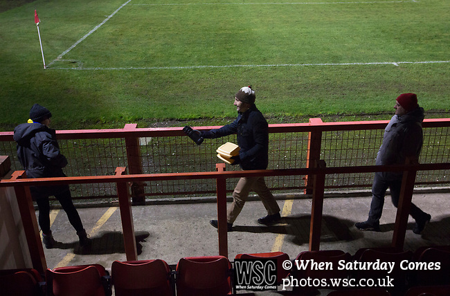 Witton Albion 1 Warrington Town 2, 26/12/2017. Wincham Park, Northern Premier League. Spectators making their way out of Wincham Park, home of Witton Albion after their Northern Premier League premier division fixture with Warrington Town. Formed in 1887, the home team have played at their current ground since 1989 having relocated from the Central Ground in Northwich. With both team chasing play-off spots, the visitors emerged with a 2-1 victory, the winner being scored by Tony Gray in second half injury time, watched by a crowd of 503. Photo by Colin McPherson.