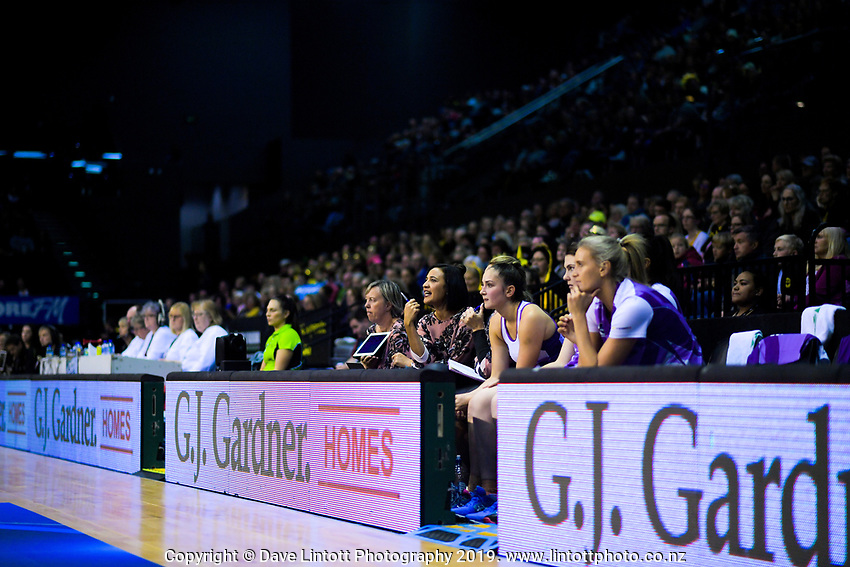 Action from the ANZ Premiership netball match between the Central Pulse and Northern Stars at the TSB Bank Arena in Wellington, New Zealand on Monday, 13 May 2019. Photo: Dave Lintott / lintottphoto.co.nz