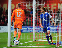 Chesterfield's Andy Kellett reacts to scoring Lincoln City's second goal<br /> <br /> Photographer Andrew Vaughan/CameraSport<br /> <br /> The EFL Sky Bet League Two - Lincoln City v Chesterfield - Saturday 7th October 2017 - Sincil Bank - Lincoln<br /> <br /> World Copyright &copy; 2017 CameraSport. All rights reserved. 43 Linden Ave. Countesthorpe. Leicester. England. LE8 5PG - Tel: +44 (0) 116 277 4147 - admin@camerasport.com - www.camerasport.com