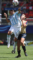 Chile, Chillan:Usa forward Alex Morgan goes for the ball along with Virginia Gomez during the football second match of the Fifa U-20 Women´s World Cup the at Nelson Oyarzún stadium in Chillán , on November 22 2008. Photo by Grosnia/ISIphotos.com