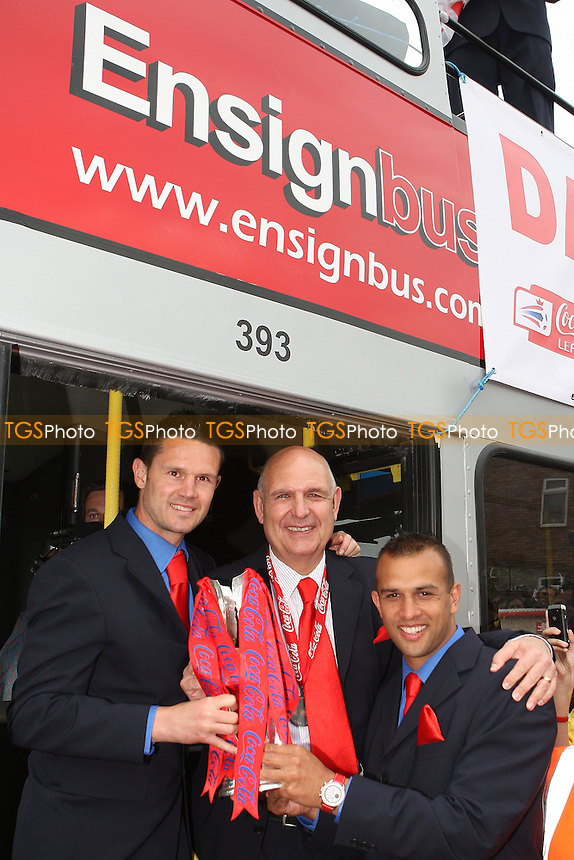 From L: Mark Arber, John Still and Anwar Uddin - League Two Play-Off winners Dagenham & Redbridge FC attend a reception at Dagenham Civic Centre and then journey back to Victoria Road by open top bus - 31/05/10 - MANDATORY CREDIT: Gavin Ellis/TGSPHOTO - Self billing applies where appropriate - Tel: 0845 094 6026