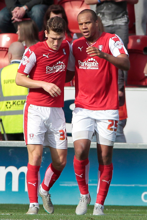 Rotherham United's Vadis Odjidja-Ofoe celebrates scoring the opening goal with Richard Smallwood<br /> <br /> Photographer David Shipman/CameraSport<br /> <br /> Football - The Football League Sky Bet Championship - Rotherham United v Cardiff City - Saturday 19th September 2015 - AESSEAL New York Stadium - Rotherham<br /> <br /> &copy; CameraSport - 43 Linden Ave. Countesthorpe. Leicester. England. LE8 5PG - Tel: +44 (0) 116 277 4147 - admin@camerasport.com - www.camerasport.com
