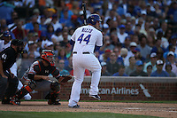 CHICAGO, IL - AUGUST 7:  Anthony Rizzo #44 of the Chicago Cubs bats during the game against the San Francisco Giants at Wrigley Field on Friday, August 7, 2015 in Chicago, Illinois. Photo by Brad Mangin