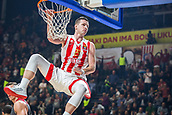 9th February 2018, Aleksandar Nikolic Hall, Belgrade, Serbia; Euroleague Basketball, Crvenz Zvezda mts Belgrade versus AX Armani Exchange Olimpia Milan; Center Alan Omic of Crvena Zvezda mts Belgrade with a dunk for 2 points