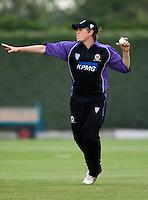 25 JUN 2009 - LOUGHBOROUGH,GBR - Alex Welsh - Loughborough UCCE (purple and black) v Derbyshire (yellow and silver) - UCCE Twenty 20 (PHOTO (C) NIGEL FARROW)