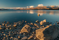 Late afternoon, Lake Tekapo, Mackenzie Country, Canterbury, South Island, New Zealand - stock photo, canvas, fine art print